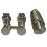 """SCHLOSSER Exclusive Комплект: узел нижнего подключения 3/4""""хМ22х1,5 прямой + термоголовка М30х1,5, цвет сталь"""