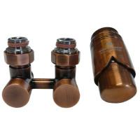 """SCHLOSSER Exclusive Комплект: узел нижнего подключения 3/4""""хМ22х1,5 угловой + термоголовка М30х1,5, цвет Античная медь"""