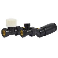 """Комплект термостатический SCHLOSSER Standart Mini 1/2""""х1/2"""" прямой, черный RAL 9005"""